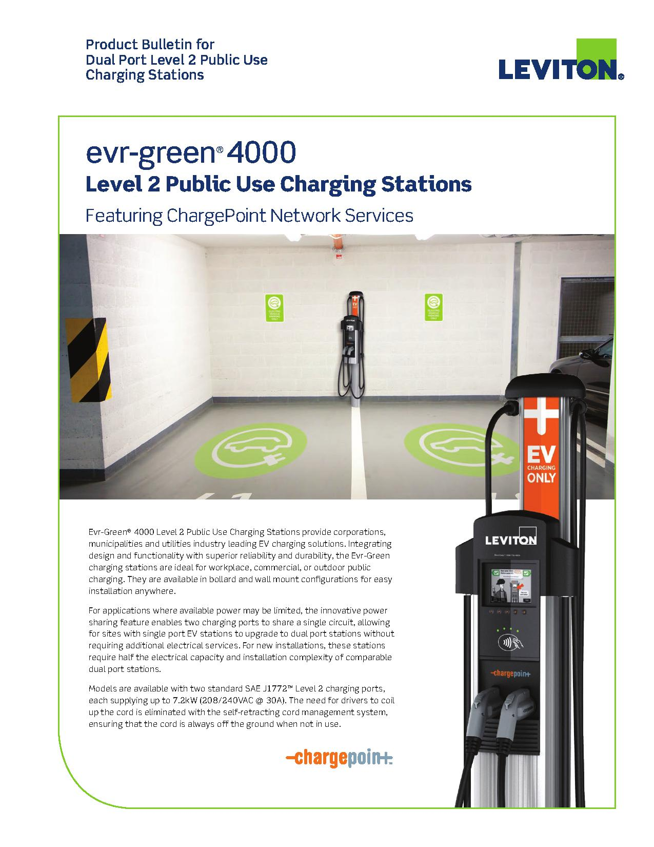 Leviton Evr-Green® 4000 Level 2 Public Use Charging Stations | AJB Sales