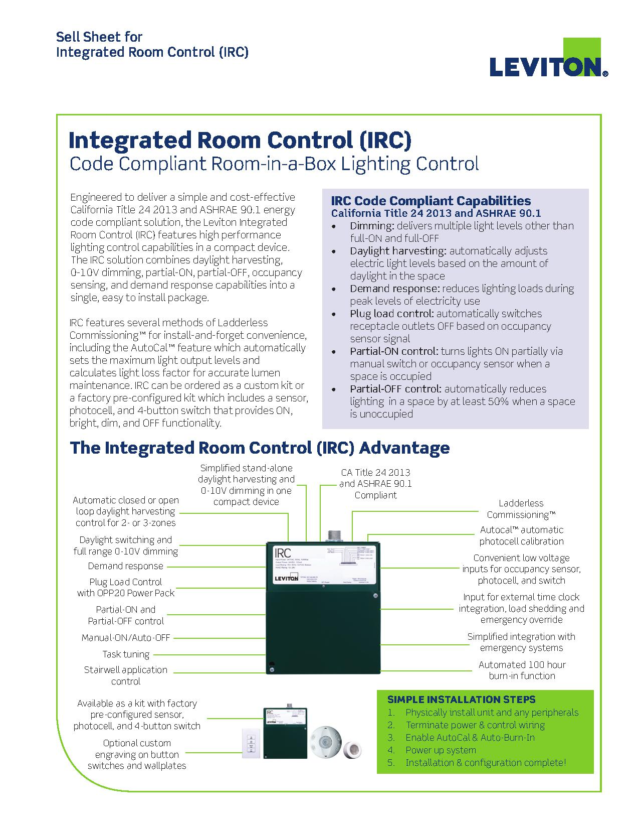 Leviton Integrated Room Control Kit-Lighting and Receptacle Control ...