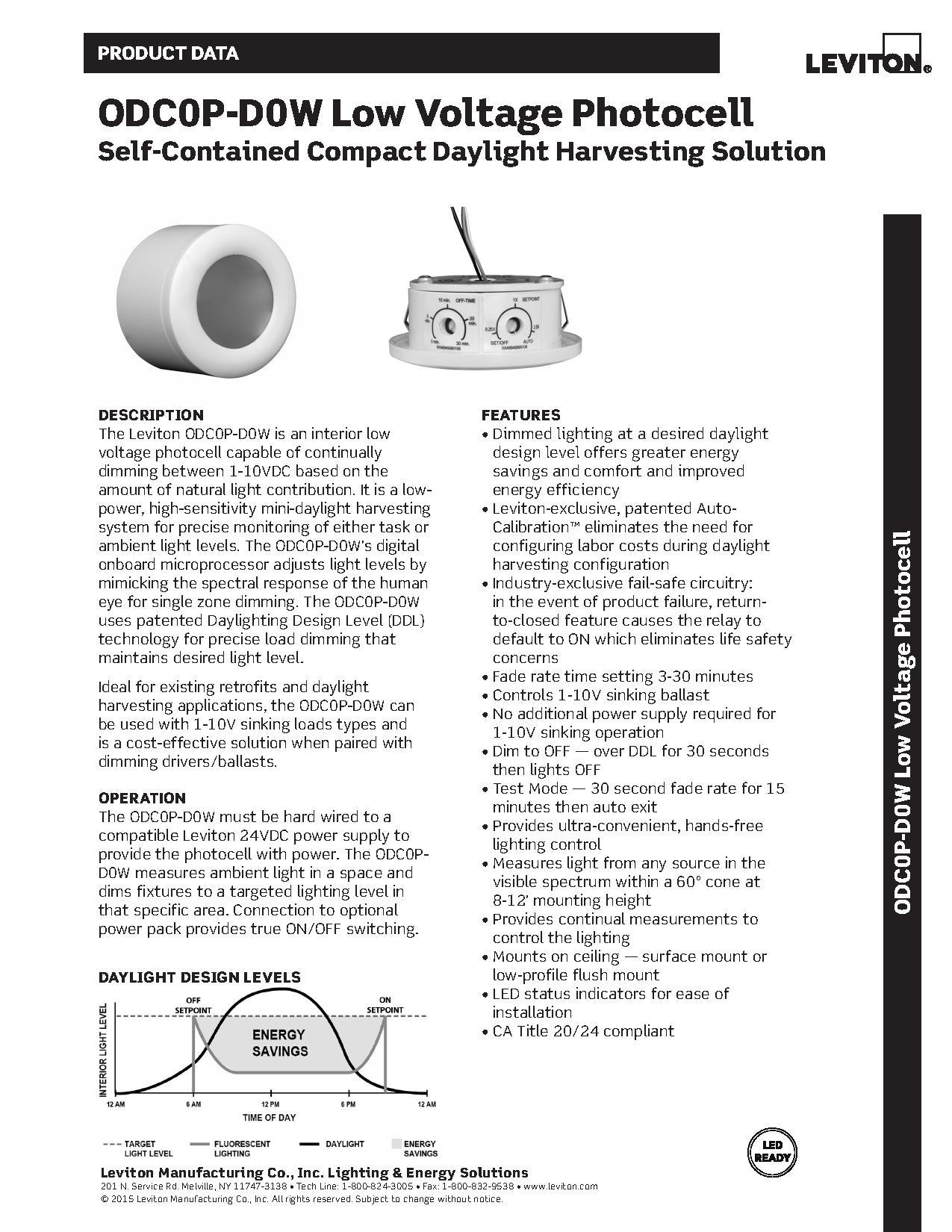 Leviton ODC0P-D0W Low Voltage 1-10V Dimming Daylight Sensor | AJB Sales