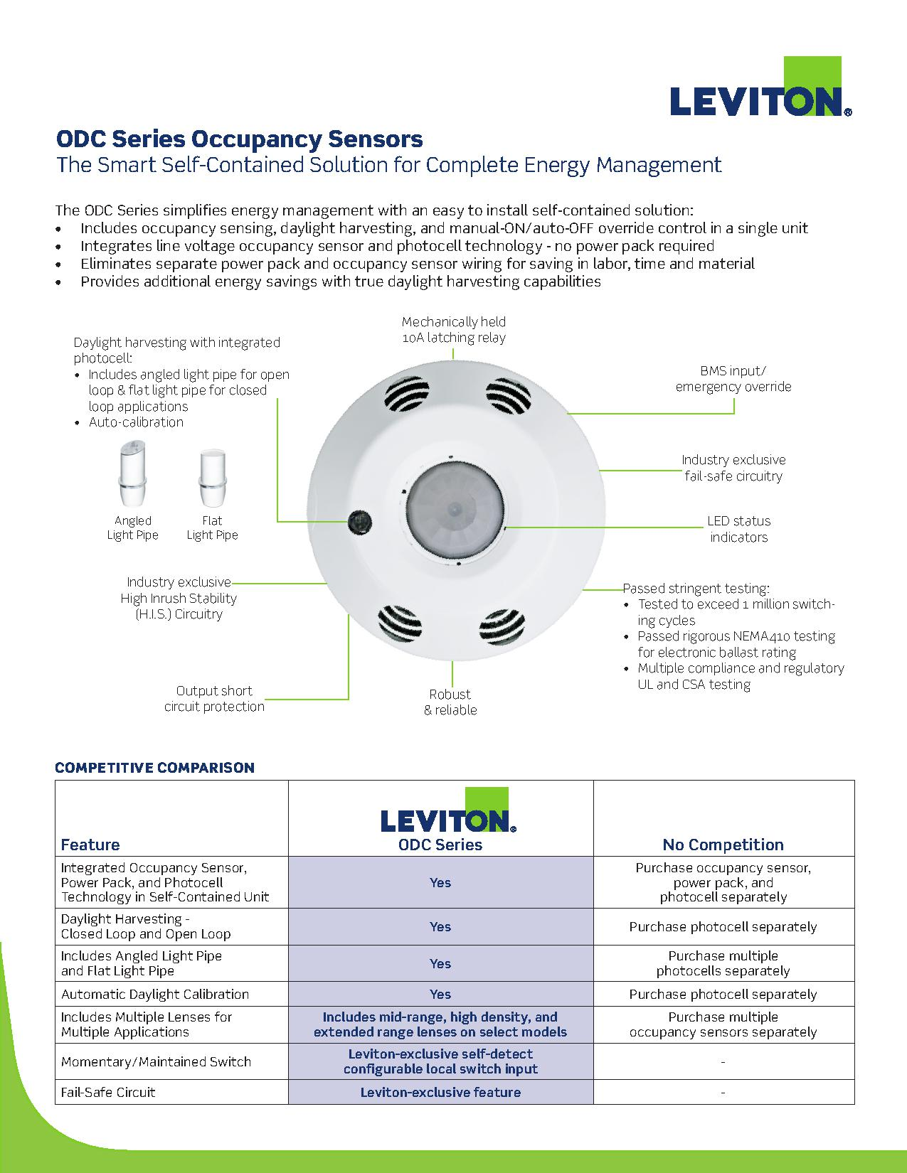 leviton odc line voltage integrated occupancy sensors ajb sales Occupancy Sensor Wiring Diagram