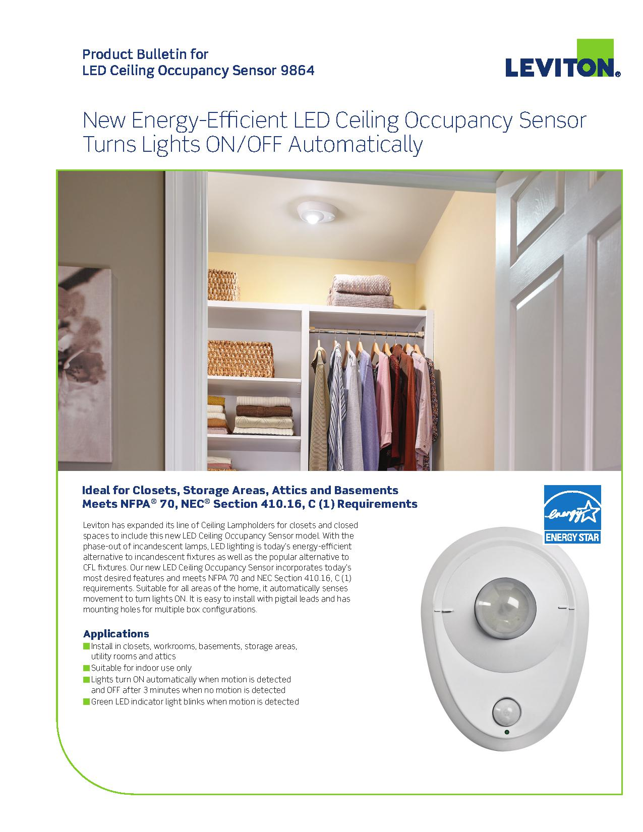 Leviton 9864 LED Closet Light with Occupancy Sensor | AJB Sales