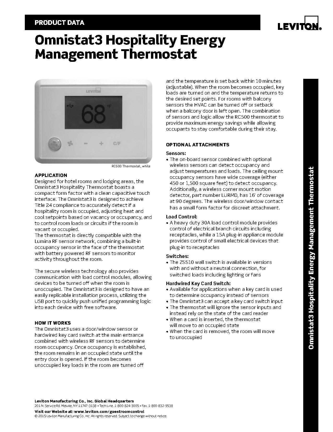 Leviton Omnistat3 RC500 Wireless Thermostat for Energy Efficiency ...