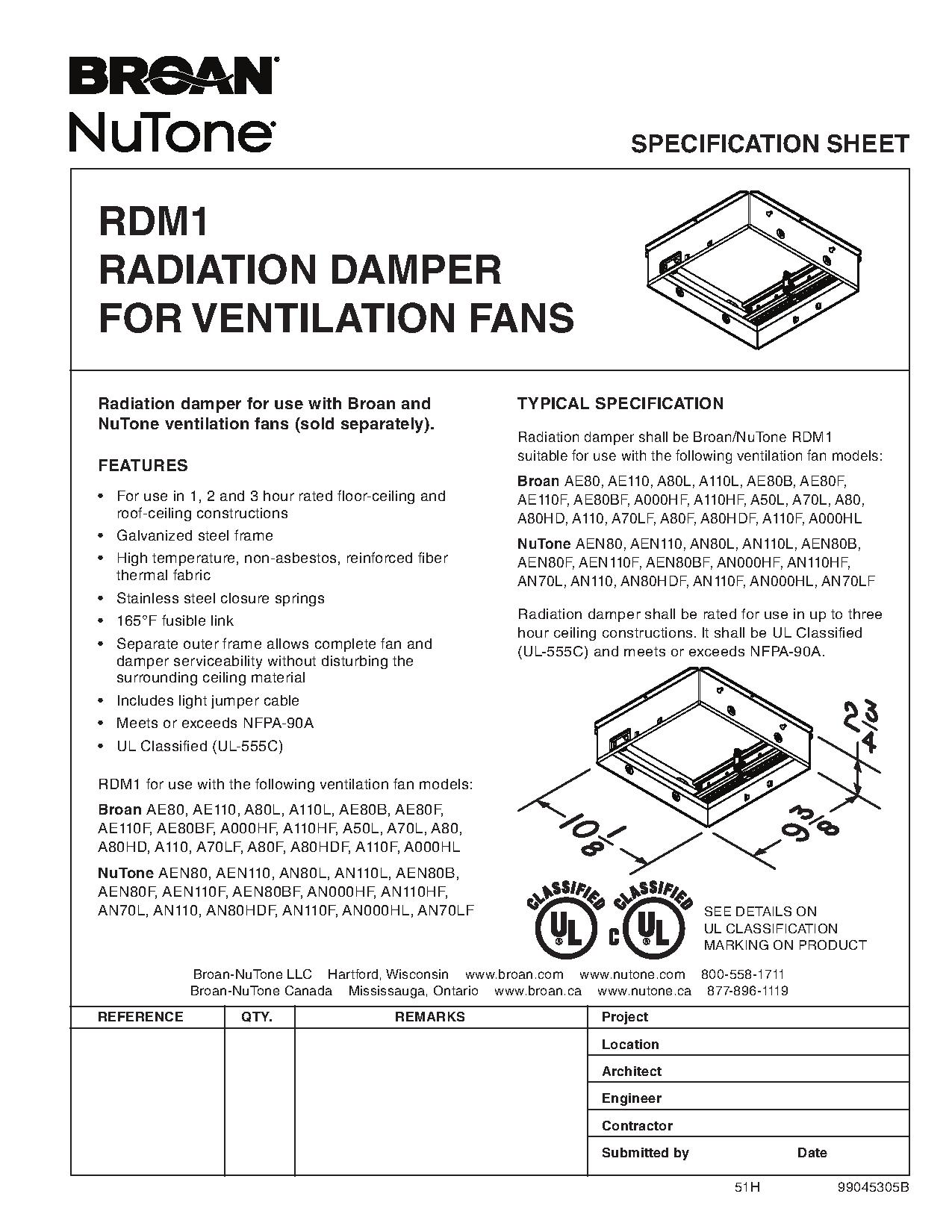 RDM1 Radiation Damper Spec Sheet broan 791led fan light with led lighting ajb sales  at gsmx.co
