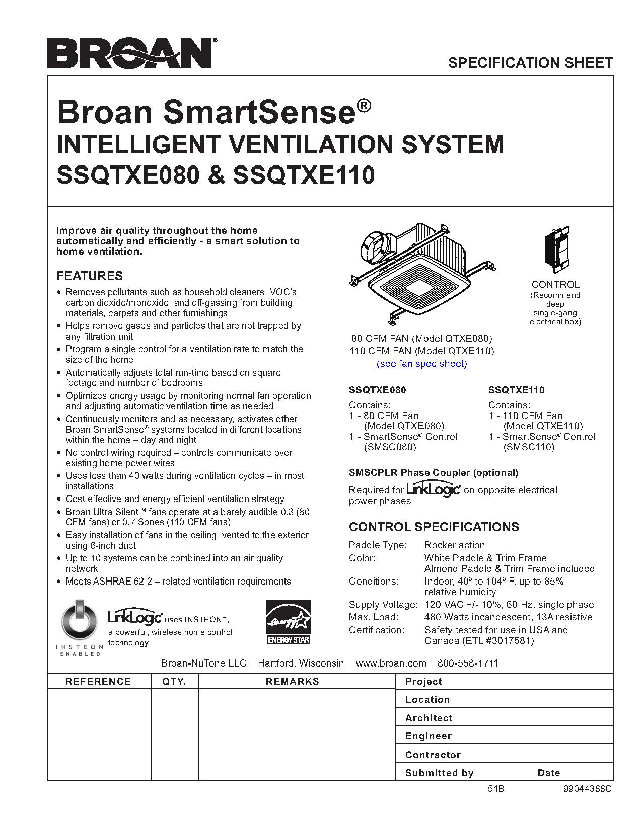 SmartSense Spec Sheet broan 791led fan light with led lighting ajb sales  at reclaimingppi.co