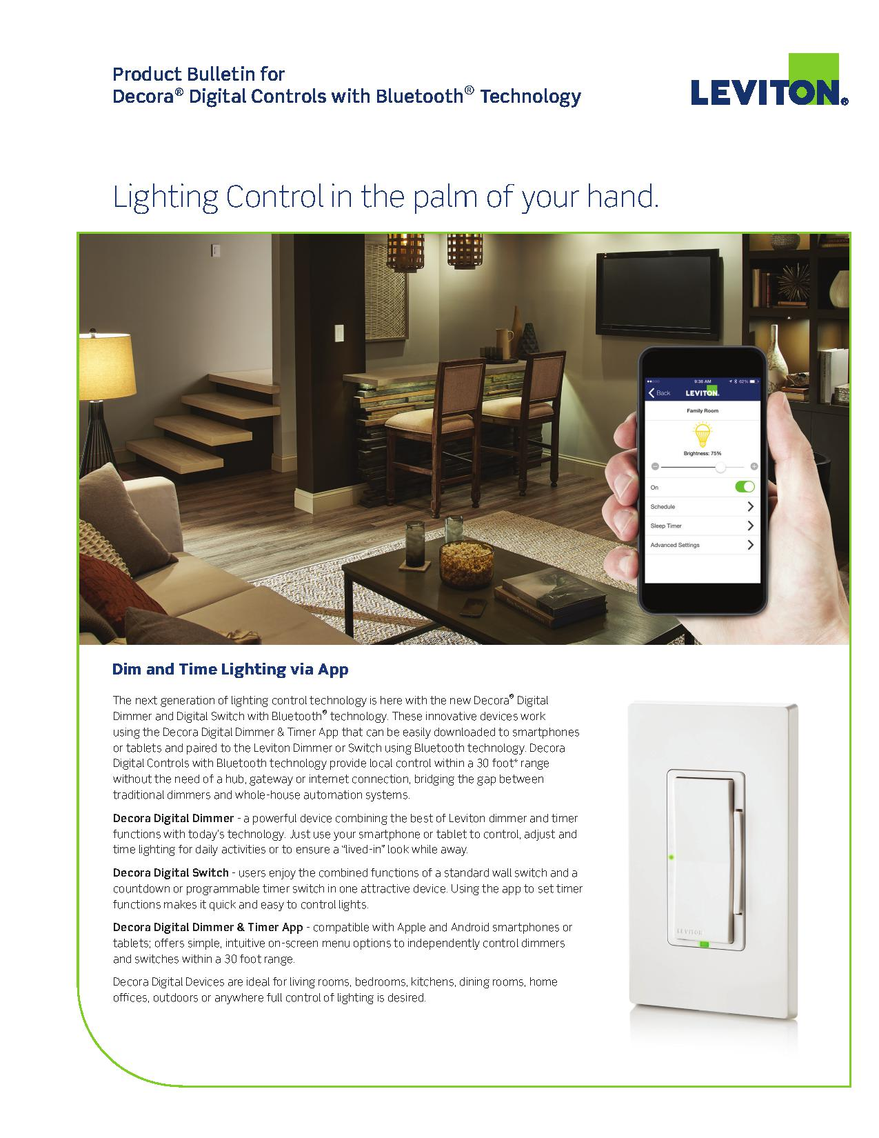 Leviton Decora® Digital Dimmer and Digital Switch with Bluetooth ...