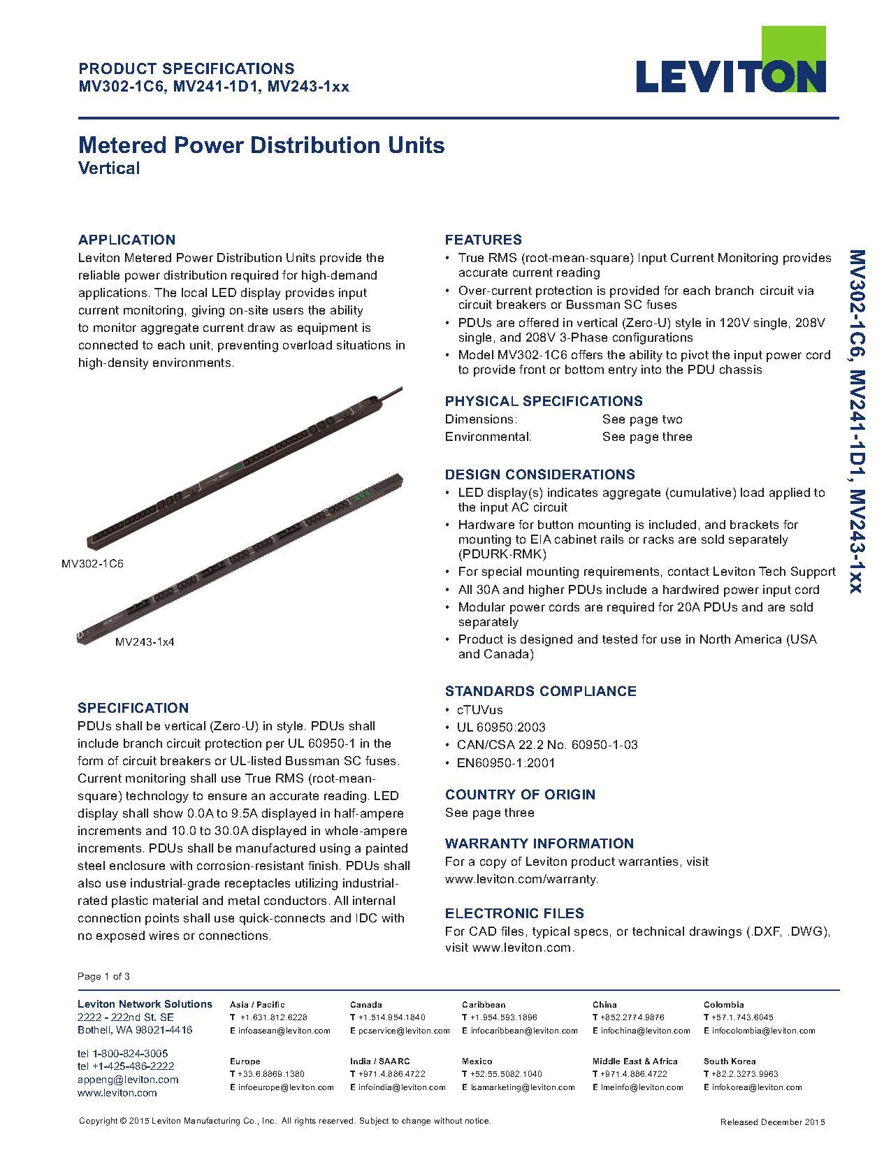 Leviton Metered Power Distribution Units   AJB Sales