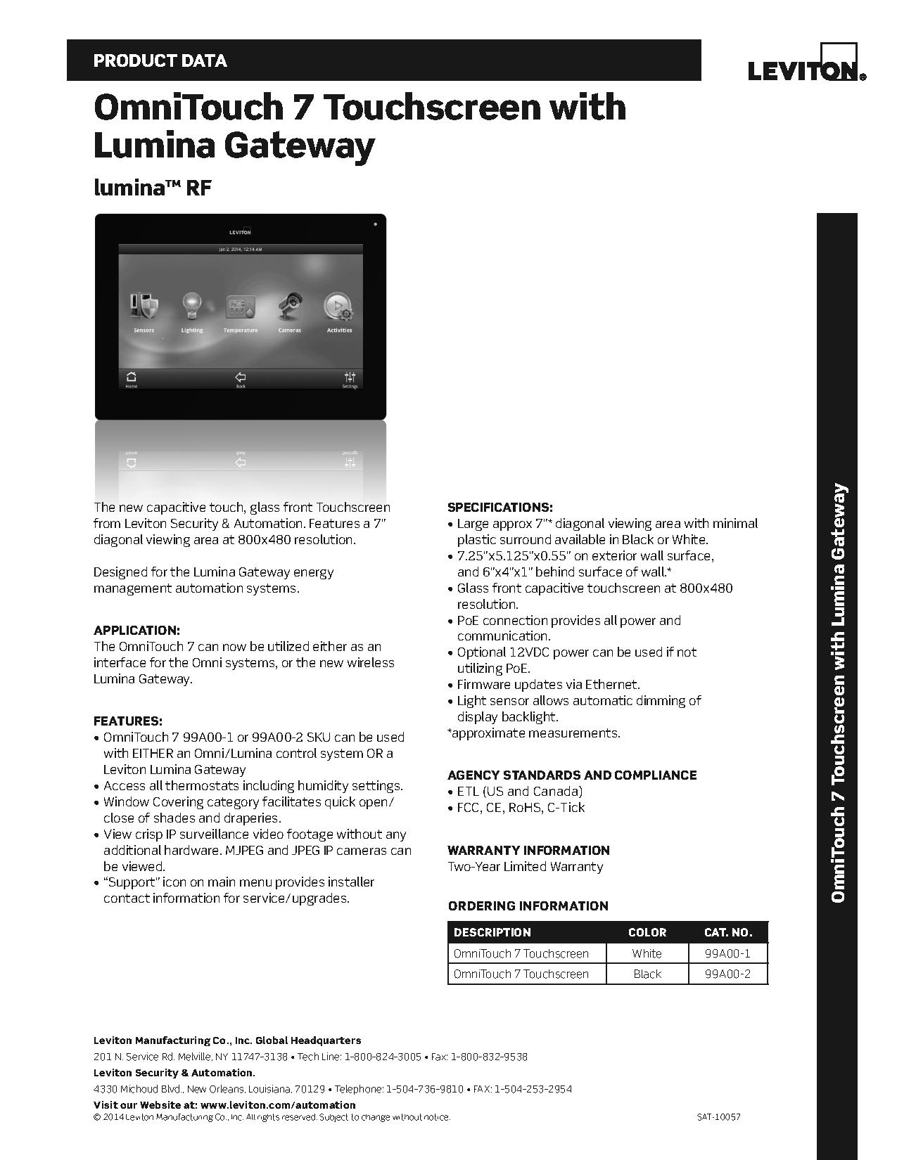 Leviton OmniTouch 7 Touchscreen for use with Lumina Gateway | AJB Sales