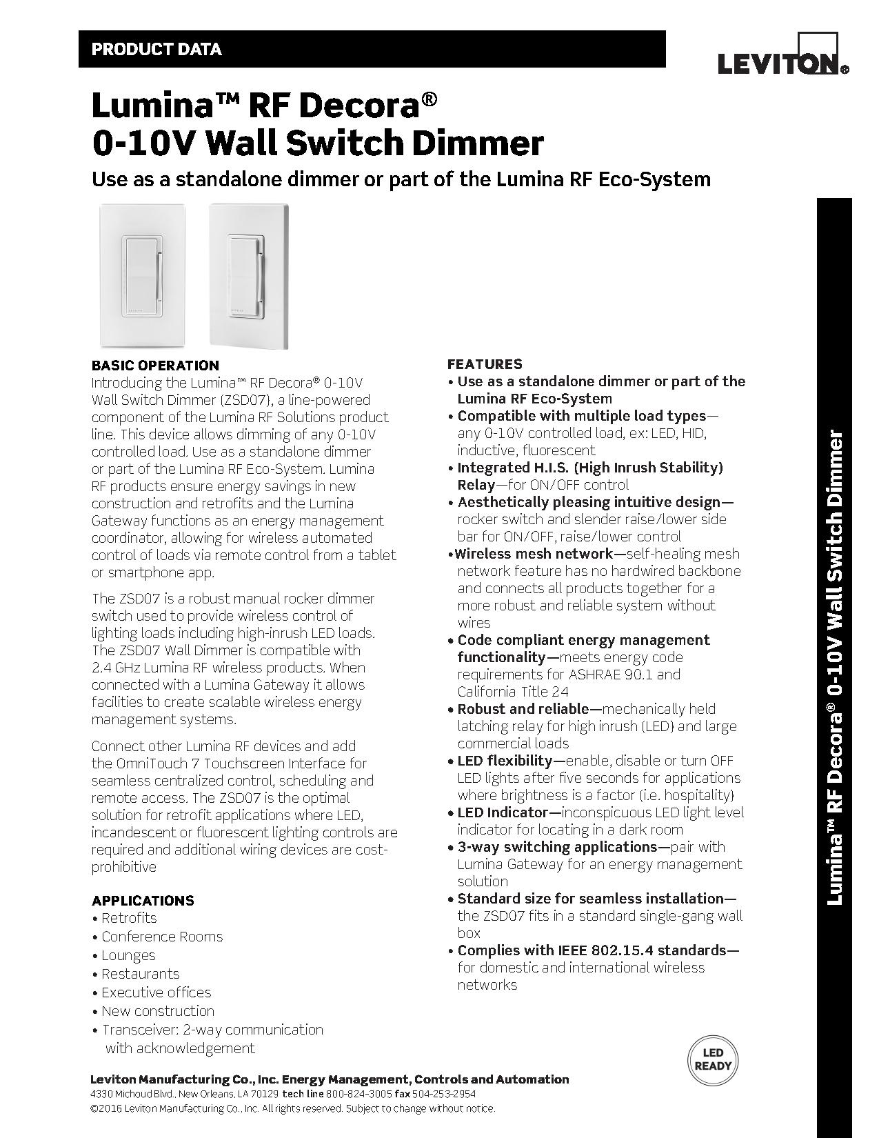 Leviton Lumina™ RF Decora® 0-10V Wall Switch Dimmer | AJB Sales